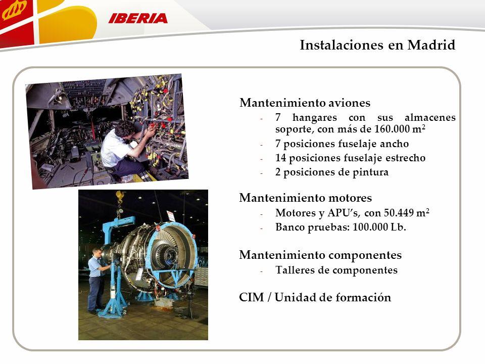 Instalaciones en Madrid Mantenimiento aviones - 7 hangares con sus almacenes soporte, con más de 160.000 m 2 - 7 posiciones fuselaje ancho - 14 posici