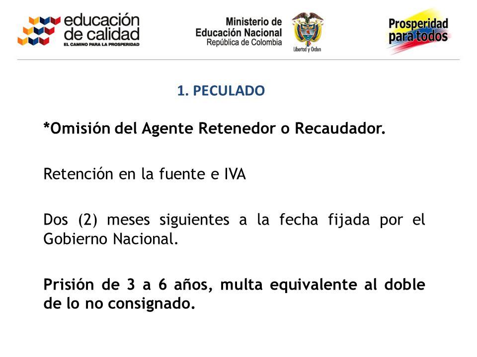 *Omisión del Agente Retenedor o Recaudador. Retención en la fuente e IVA Dos (2) meses siguientes a la fecha fijada por el Gobierno Nacional. Prisión