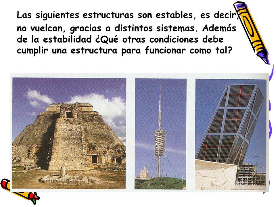 Las siguientes estructuras son estables, es decir, no vuelcan, gracias a distintos sistemas. Además de la estabilidad ¿Qué otras condiciones debe cump