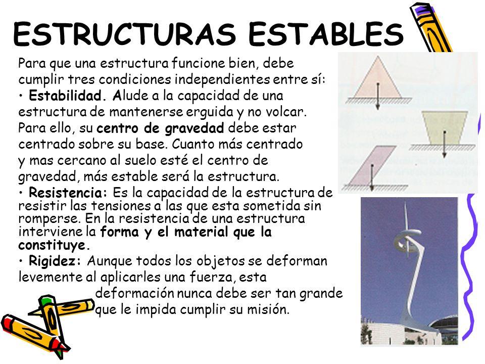 ESTRUCTURAS ESTABLES Para que una estructura funcione bien, debe cumplir tres condiciones independientes entre sí: Estabilidad. Alude a la capacidad d
