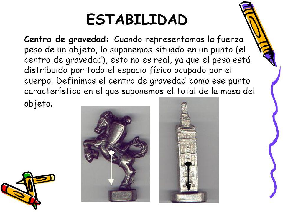 ESTABILIDAD Centro de gravedad: Cuando representamos la fuerza peso de un objeto, lo suponemos situado en un punto (el centro de gravedad), esto no es