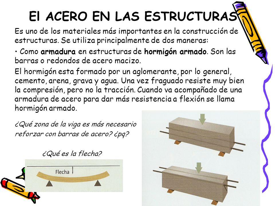 El ACERO EN LAS ESTRUCTURAS Es uno de los materiales más importantes en la construcción de estructuras. Se utiliza principalmente de dos maneras: Como