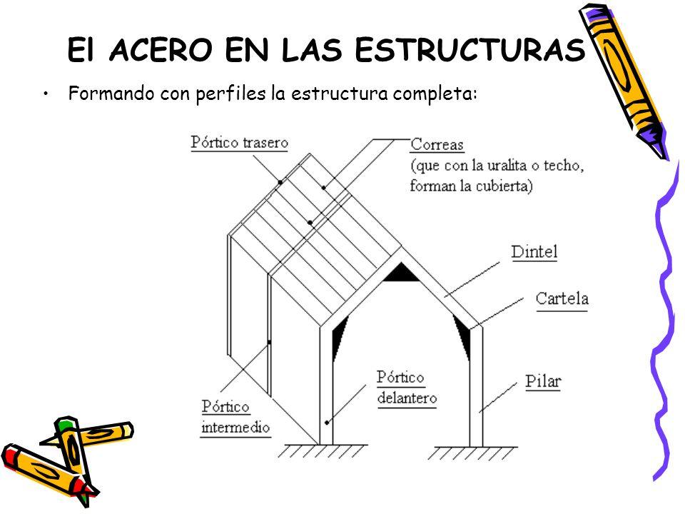 El ACERO EN LAS ESTRUCTURAS Formando con perfiles la estructura completa: