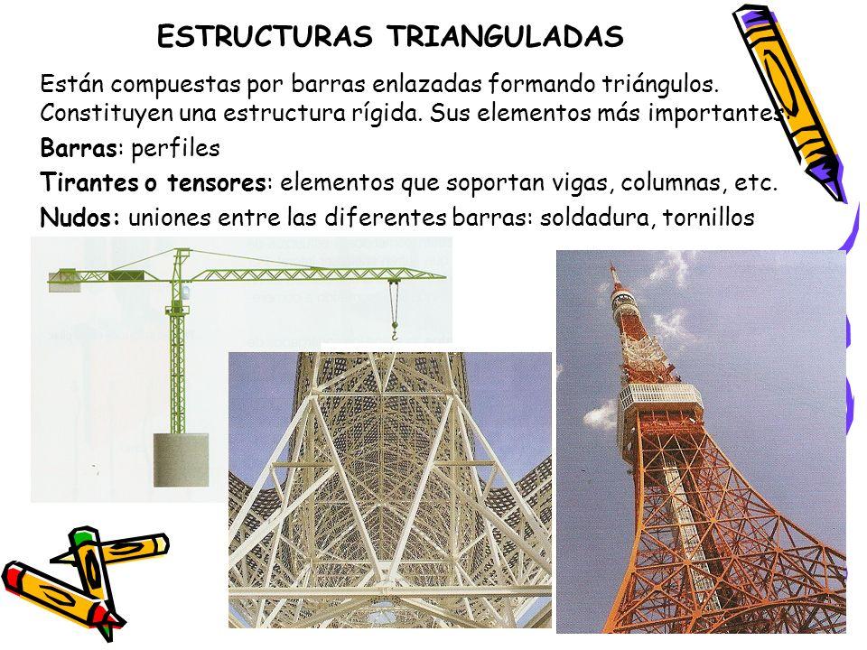 ESTRUCTURAS TRIANGULADAS Están compuestas por barras enlazadas formando triángulos. Constituyen una estructura rígida. Sus elementos más importantes: