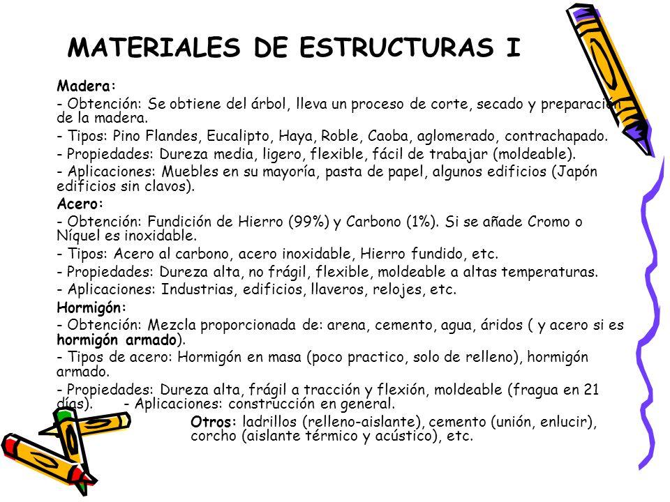 MATERIALES DE ESTRUCTURAS I Madera: - Obtención: Se obtiene del árbol, lleva un proceso de corte, secado y preparación de la madera. - Tipos: Pino Fla