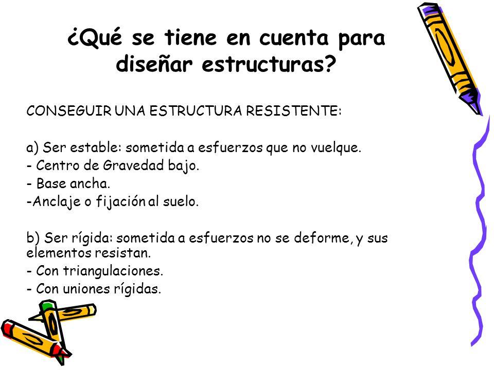 ¿Qué se tiene en cuenta para diseñar estructuras? CONSEGUIR UNA ESTRUCTURA RESISTENTE: a) Ser estable: sometida a esfuerzos que no vuelque. - Centro d