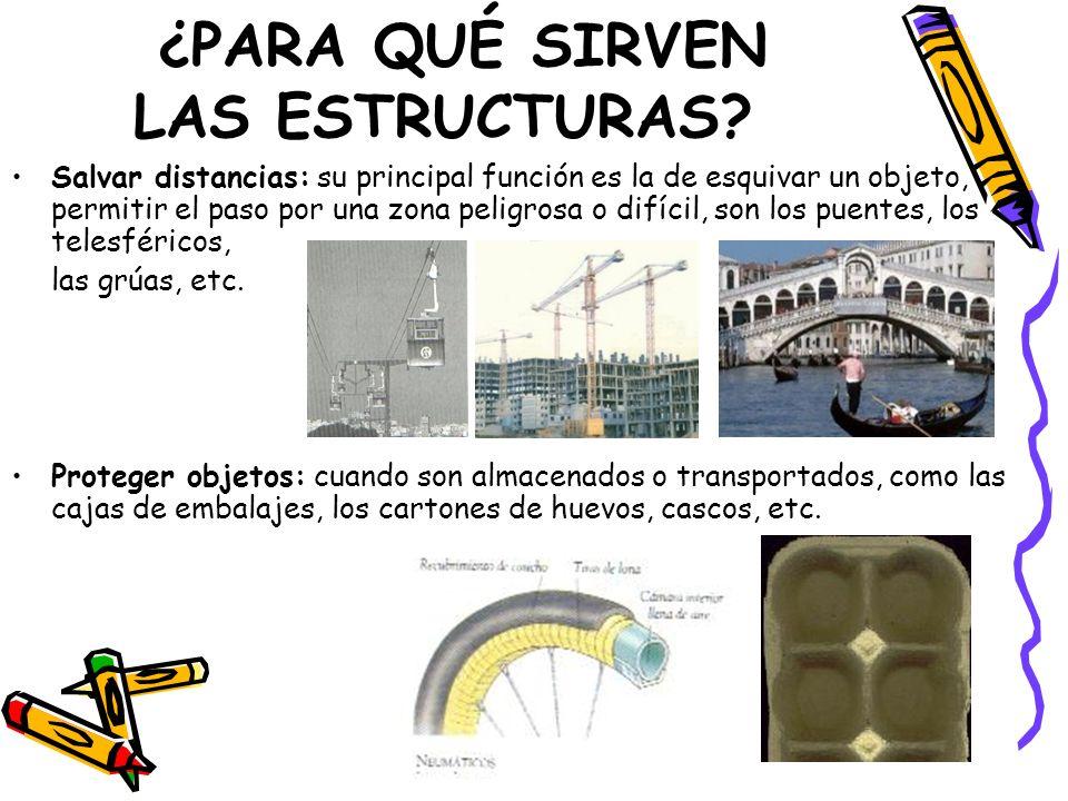 ESTRUCTURAS COLGANTES Se utilizan cables de los que cuelga la estructura.