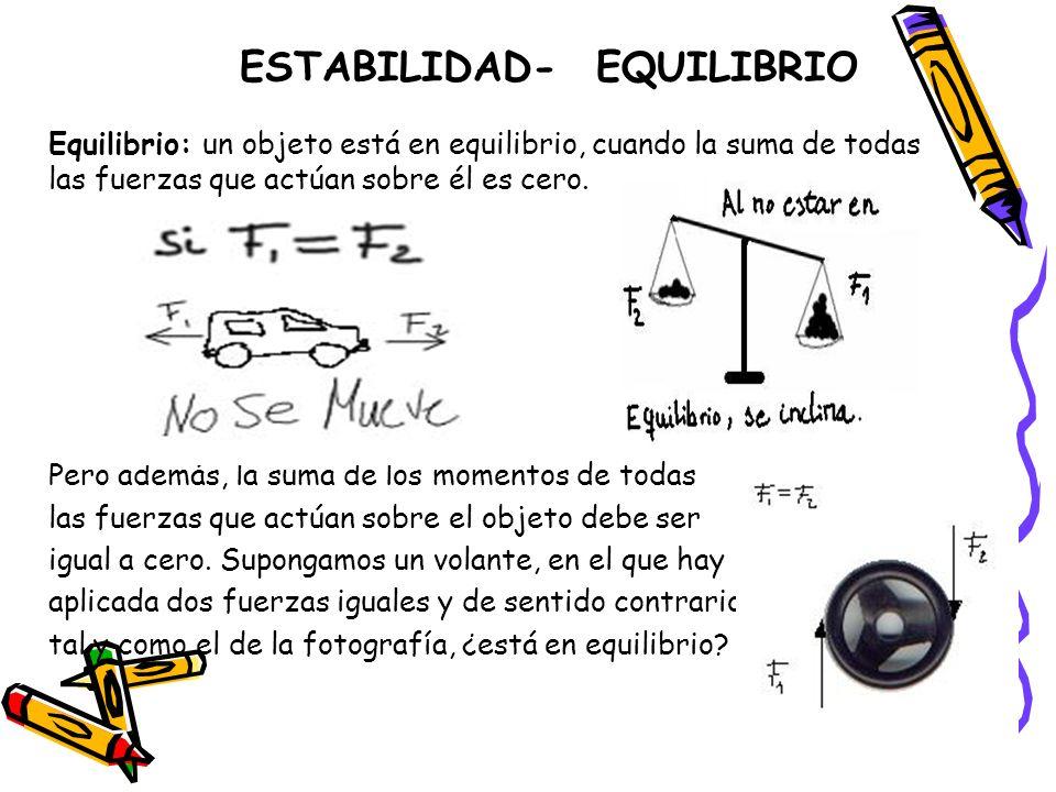 ESTABILIDAD- EQUILIBRIO Equilibrio: un objeto está en equilibrio, cuando la suma de todas las fuerzas que actúan sobre él es cero. Pero además, la sum
