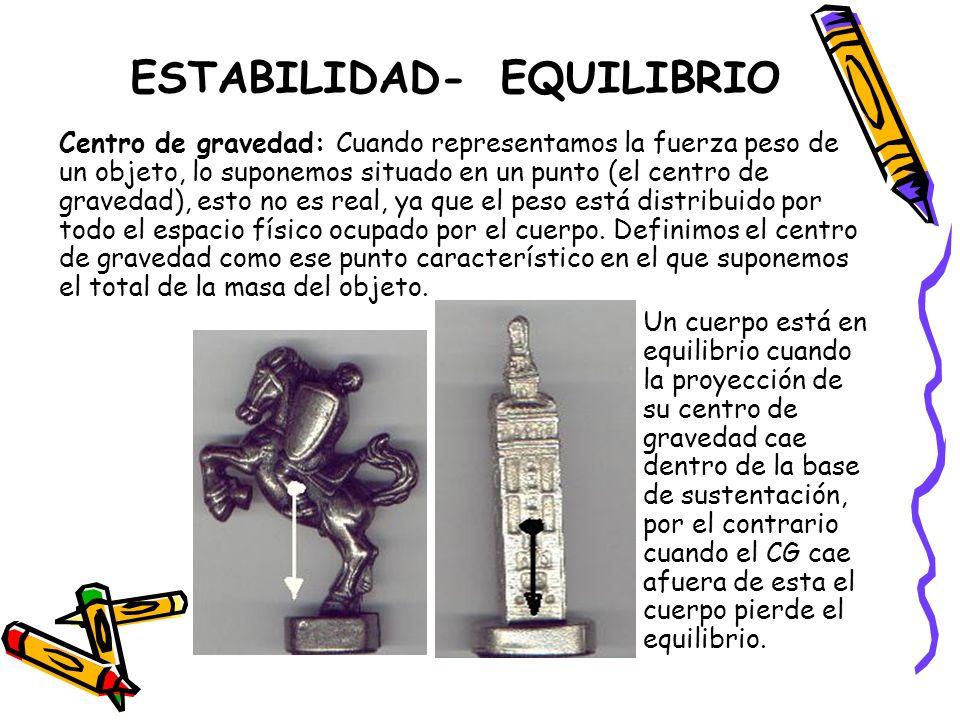 ESTABILIDAD- EQUILIBRIO Centro de gravedad: Cuando representamos la fuerza peso de un objeto, lo suponemos situado en un punto (el centro de gravedad)