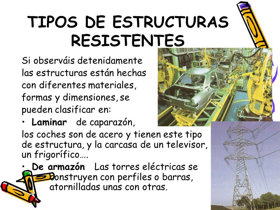 TIPOS DE ESTRUCTURAS RESISTENTES Si observáis detenidamente las estructuras están hechas con diferentes materiales, formas y dimensiones, se pueden cl