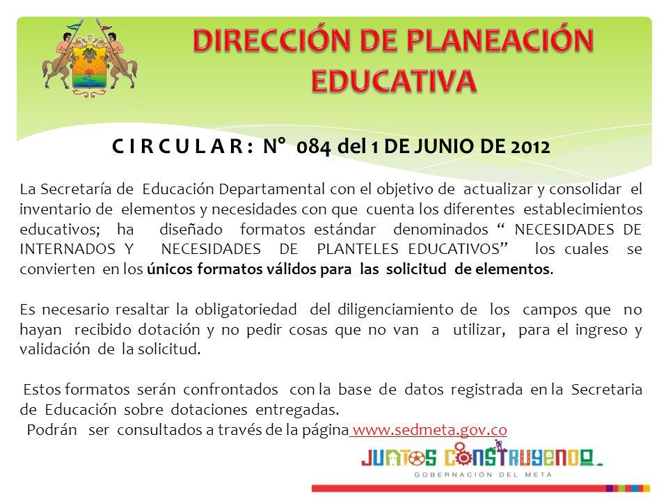 C I R C U L A R : N° 084 del 1 DE JUNIO DE 2012 La Secretaría de Educación Departamental con el objetivo de actualizar y consolidar el inventario de e
