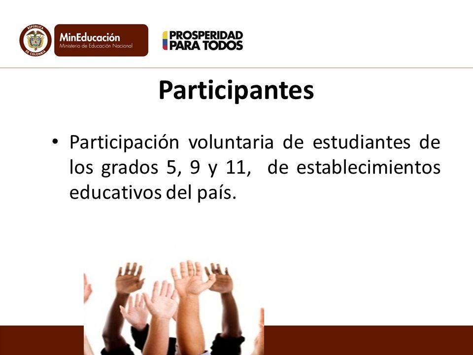 Participantes Participación voluntaria de estudiantes de los grados 5, 9 y 11, de establecimientos educativos del país.