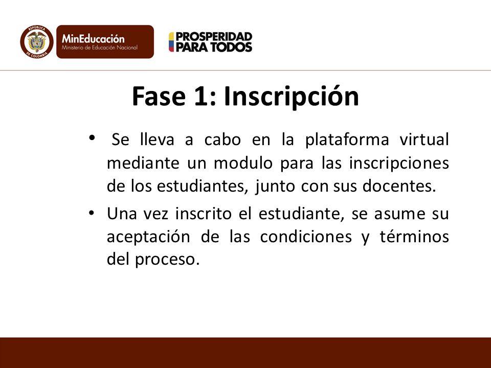 Fase 1: Inscripción Se lleva a cabo en la plataforma virtual mediante un modulo para las inscripciones de los estudiantes, junto con sus docentes.