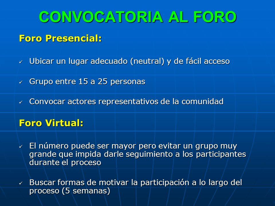 CONVOCATORIA AL FORO Foro Presencial: Ubicar un lugar adecuado (neutral) y de fácil acceso Ubicar un lugar adecuado (neutral) y de fácil acceso Grupo