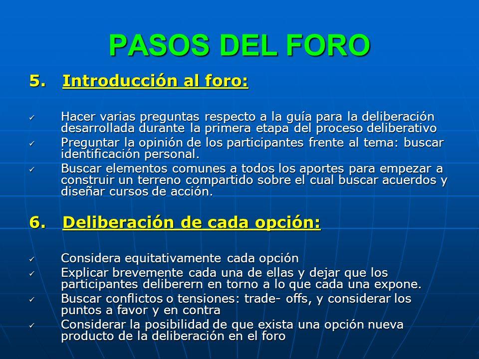 PASOS DEL FORO 5. Introducción al foro: Hacer varias preguntas respecto a la guía para la deliberación desarrollada durante la primera etapa del proce