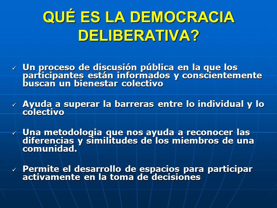 QUÉ ES LA DEMOCRACIA DELIBERATIVA? Un proceso de discusión pública en la que los participantes están informados y conscientemente buscan un bienestar