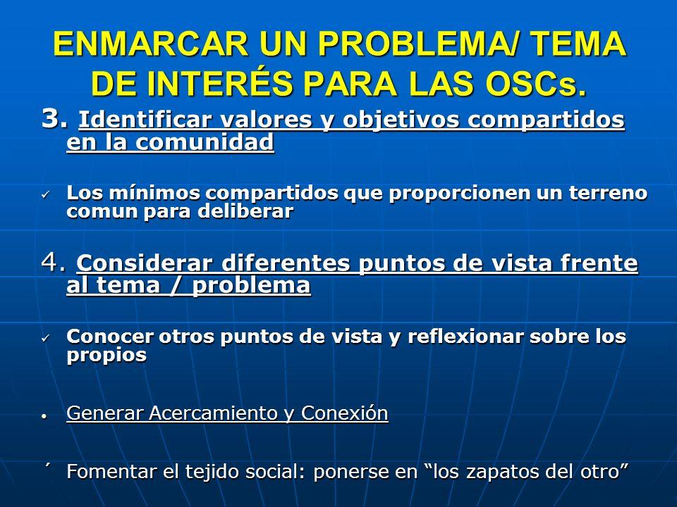ENMARCAR UN PROBLEMA/ TEMA DE INTERÉS PARA LAS OSCs. 3. Identificar valores y objetivos compartidos en la comunidad Los mínimos compartidos que propor