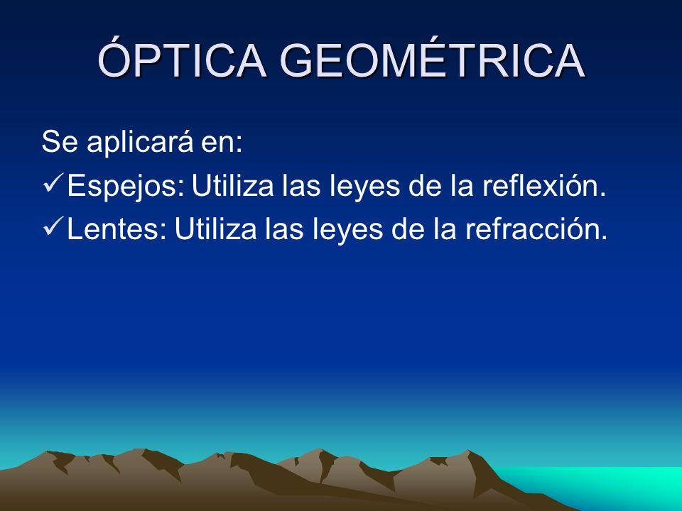 ÓPTICA GEOMÉTRICA Se aplicará en: Espejos: Utiliza las leyes de la reflexión. Lentes: Utiliza las leyes de la refracción.