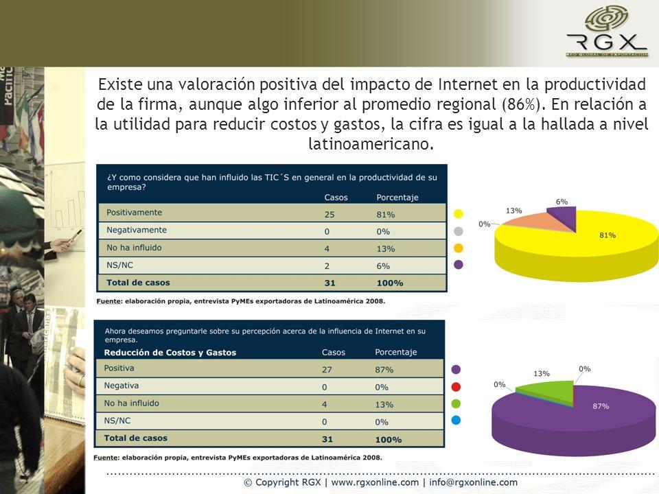 Existe una valoración positiva del impacto de Internet en la productividad de la firma, aunque algo inferior al promedio regional (86%).