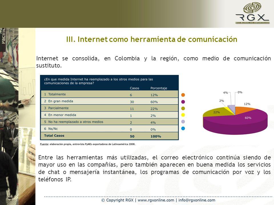 III. Internet como herramienta de comunicación Internet se consolida, en Colombia y la región, como medio de comunicación sustituto. Entre las herrami