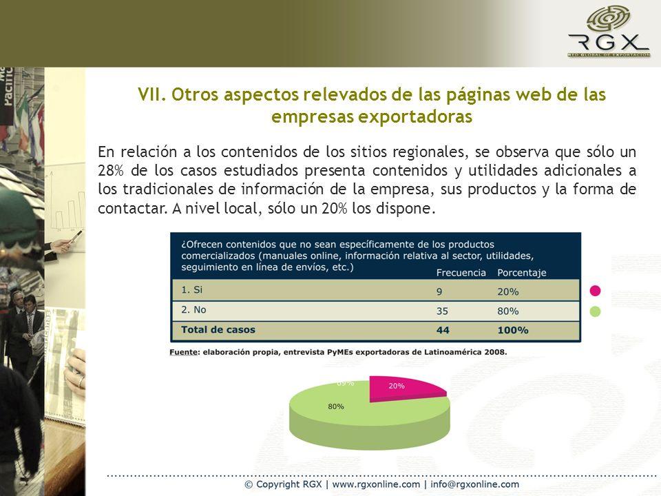 VII. Otros aspectos relevados de las páginas web de las empresas exportadoras En relación a los contenidos de los sitios regionales, se observa que só