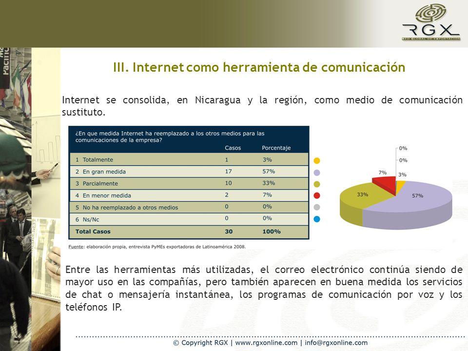 III. Internet como herramienta de comunicación Internet se consolida, en Nicaragua y la región, como medio de comunicación sustituto. Entre las herram