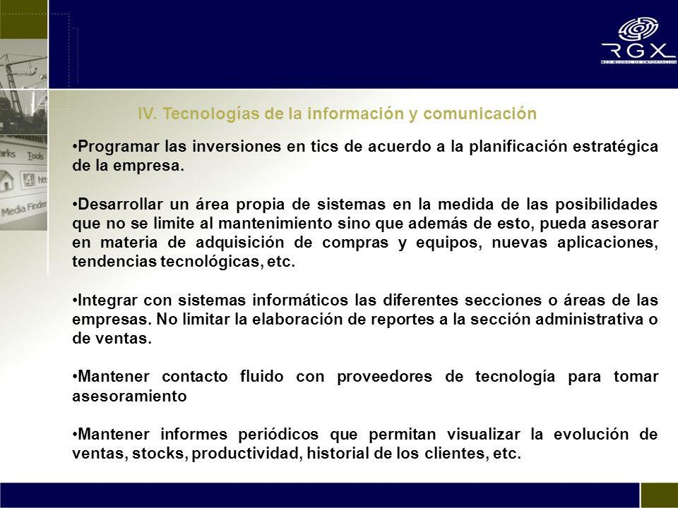IV. Tecnologías de la información y comunicación Programar las inversiones en tics de acuerdo a la planificación estratégica de la empresa. Desarrolla