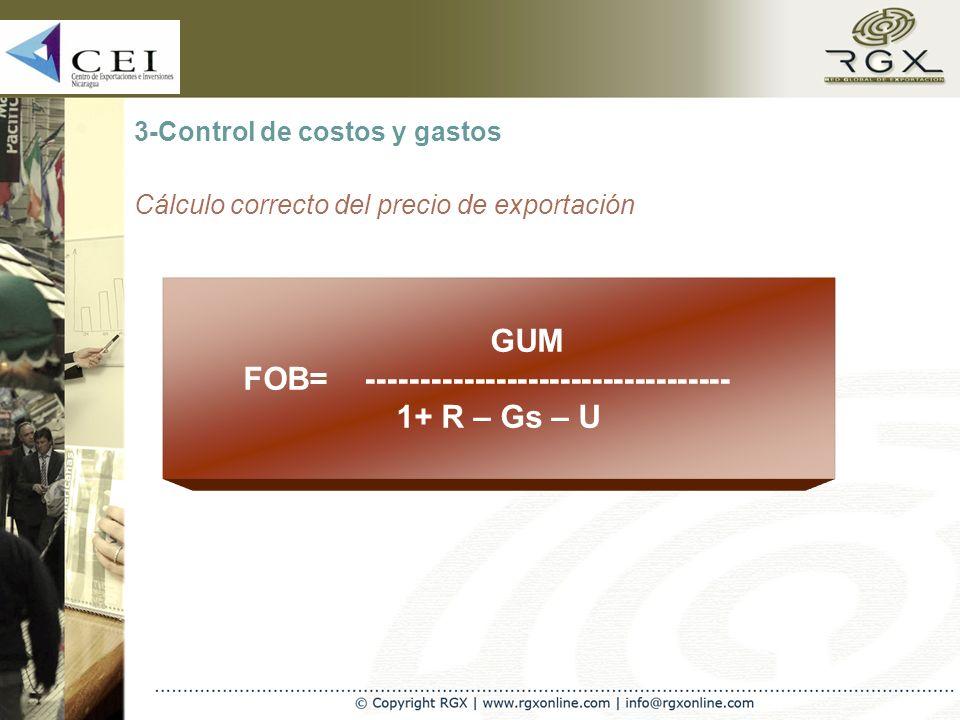 3-Control de costos y gastos Cálculo correcto del precio de exportación GUM FOB= ---------------------------------- 1+ R – Gs – U