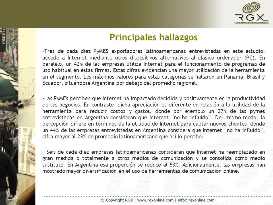 Principales hallazgos -Tres de cada diez PyMES exportadoras latinoamericanas entrevistadas en este estudio, accede a Internet mediante otros dispositivos alternativos al clásico ordenador (PC).