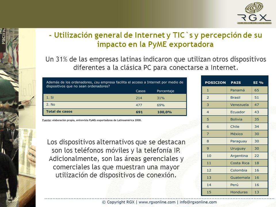 - Utilización general de Internet y TIC`s y percepción de su impacto en la PyME exportadora Un 31% de las empresas latinas indicaron que utilizan otros dispositivos diferentes a la clásica PC para conectarse a Internet.