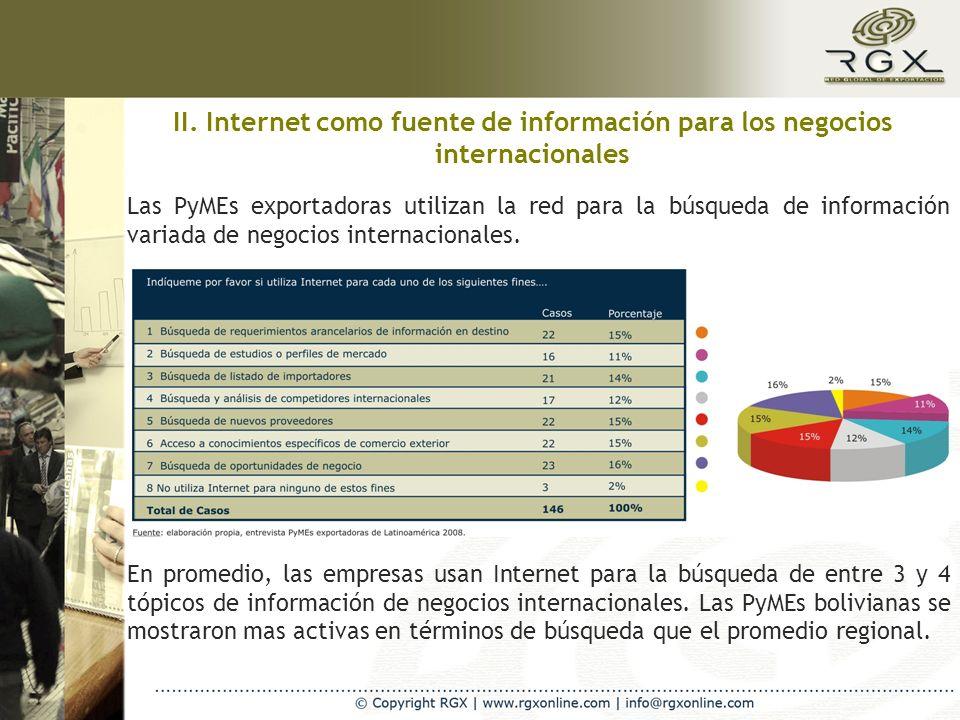 II. Internet como fuente de información para los negocios internacionales Las PyMEs exportadoras utilizan la red para la búsqueda de información varia