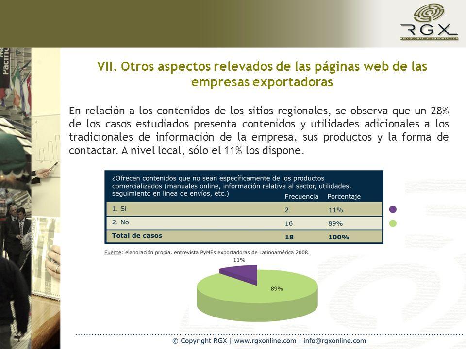 VII. Otros aspectos relevados de las páginas web de las empresas exportadoras En relación a los contenidos de los sitios regionales, se observa que un