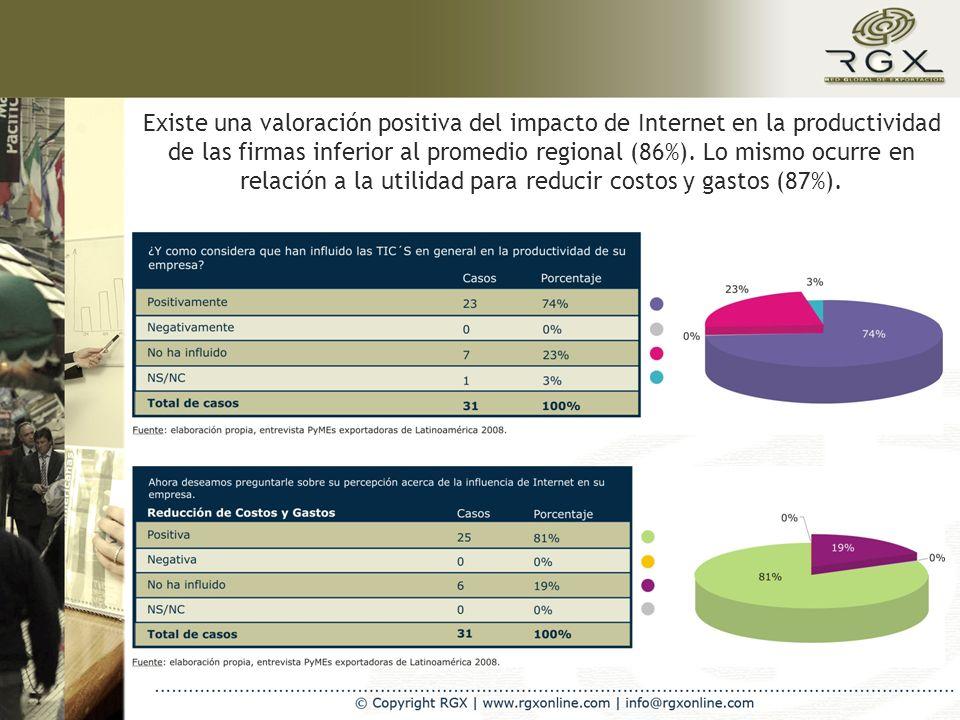 Existe una valoración positiva del impacto de Internet en la productividad de las firmas inferior al promedio regional (86%).