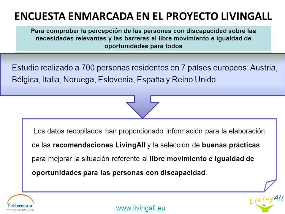 ENCUESTA ENMARCADA EN EL PROYECTO LIVINGALL www.livingall.eu Estudio realizado a 700 personas residentes en 7 países europeos: Austria, Bélgica, Italia, Noruega, Eslovenia, España y Reino Unido.
