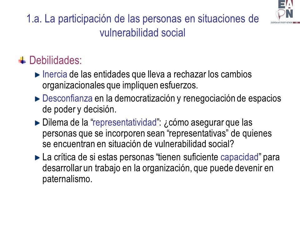 1.a. La participación de las personas en situaciones de vulnerabilidad social Debilidades: Inercia de las entidades que lleva a rechazar los cambios o