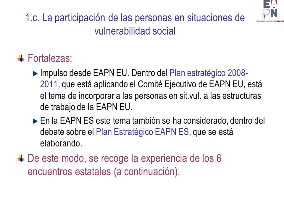 1.c. La participación de las personas en situaciones de vulnerabilidad social Fortalezas: Impulso desde EAPN EU. Dentro del Plan estratégico 2008- 201