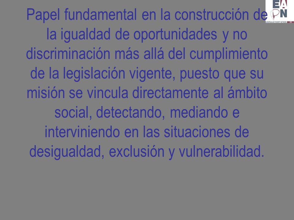 Papel fundamental en la construcción de la igualdad de oportunidades y no discriminación más allá del cumplimiento de la legislación vigente, puesto que su misión se vincula directamente al ámbito social, detectando, mediando e interviniendo en las situaciones de desigualdad, exclusión y vulnerabilidad.