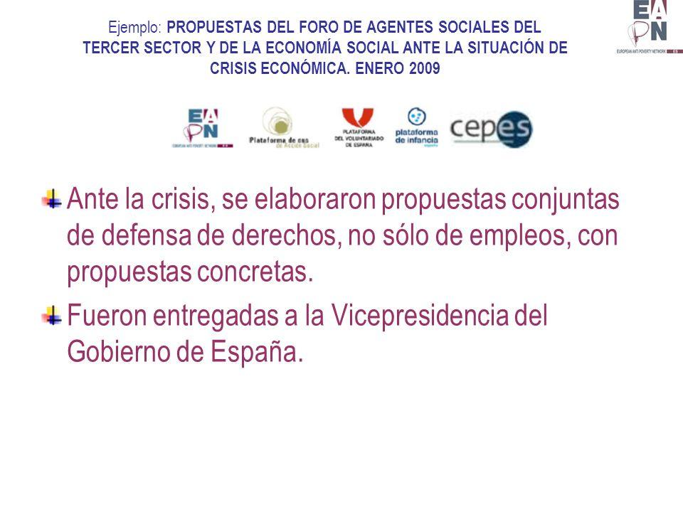 Ejemplo: PROPUESTAS DEL FORO DE AGENTES SOCIALES DEL TERCER SECTOR Y DE LA ECONOMÍA SOCIAL ANTE LA SITUACIÓN DE CRISIS ECONÓMICA.