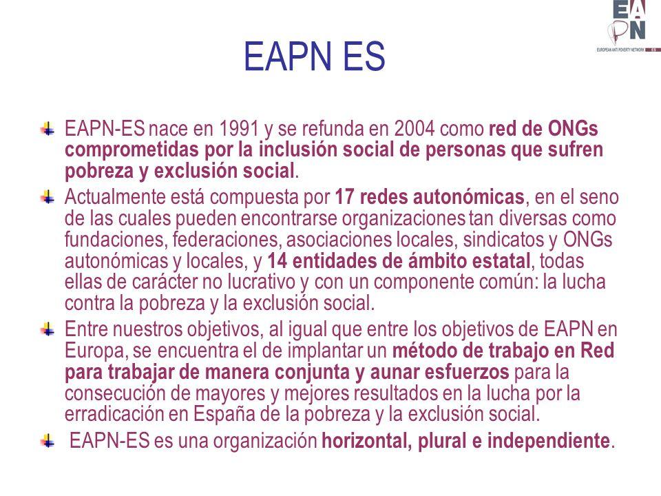 EAPN ES EAPN-ES nace en 1991 y se refunda en 2004 como red de ONGs comprometidas por la inclusión social de personas que sufren pobreza y exclusión social.