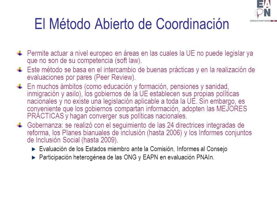 El Método Abierto de Coordinación Permite actuar a nivel europeo en áreas en las cuales la UE no puede legislar ya que no son de su competencia (soft law).