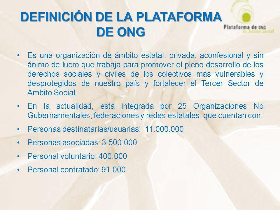 DEFINICIÓN DE LA PLATAFORMA DE ONG Es una organización de ámbito estatal, privada, aconfesional y sin ánimo de lucro que trabaja para promover el plen