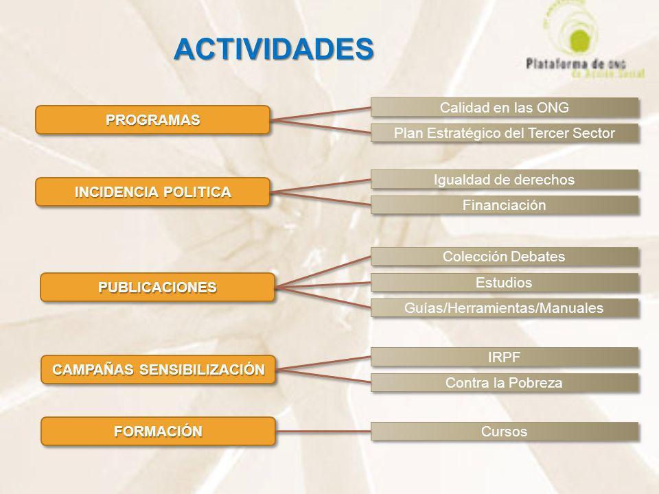 ACTIVIDADES PUBLICACIONESPUBLICACIONES INCIDENCIA POLITICA PROGRAMASPROGRAMAS IRPF Plan Estratégico del Tercer Sector Calidad en las ONG Financiación