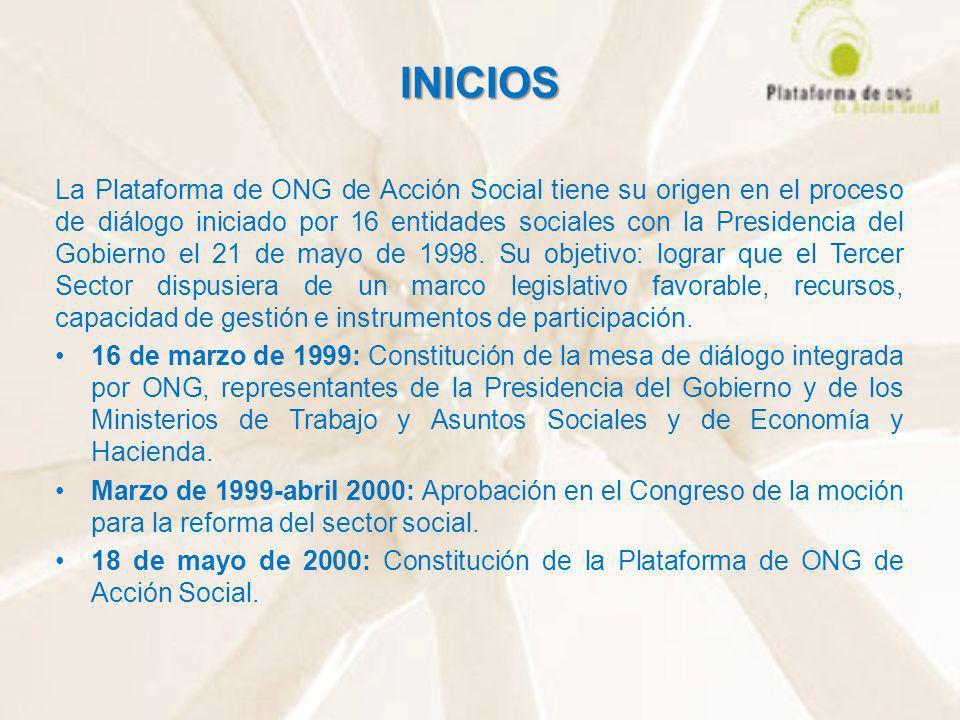INICIOS La Plataforma de ONG de Acción Social tiene su origen en el proceso de diálogo iniciado por 16 entidades sociales con la Presidencia del Gobie