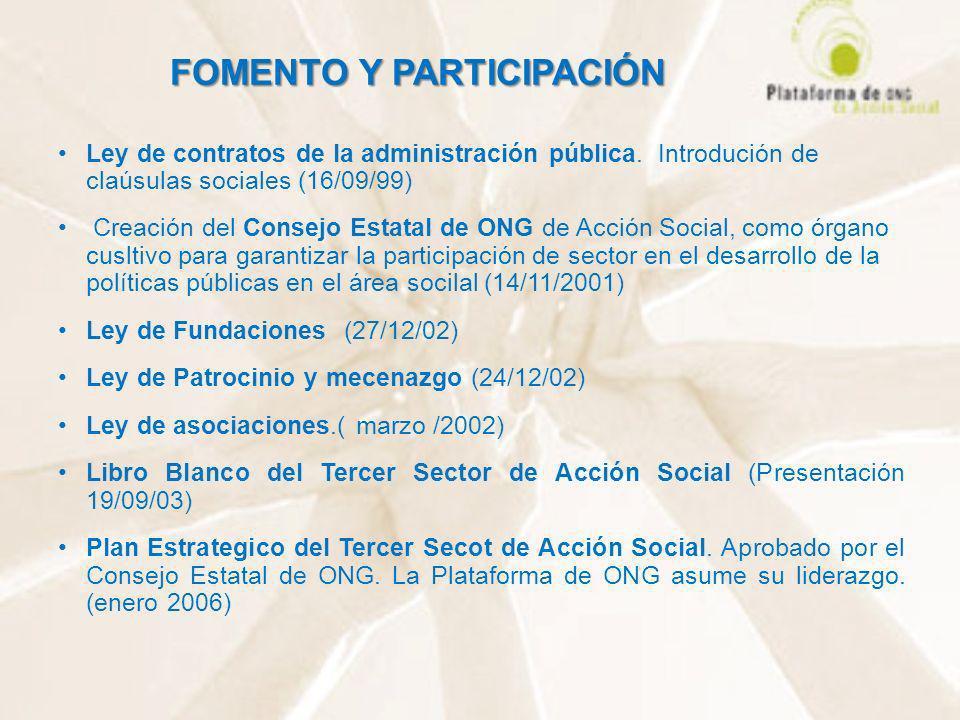 FOMENTO Y PARTICIPACIÓN FOMENTO Y PARTICIPACIÓN Ley de contratos de la administración pública. Introdución de claúsulas sociales (16/09/99) Creación d