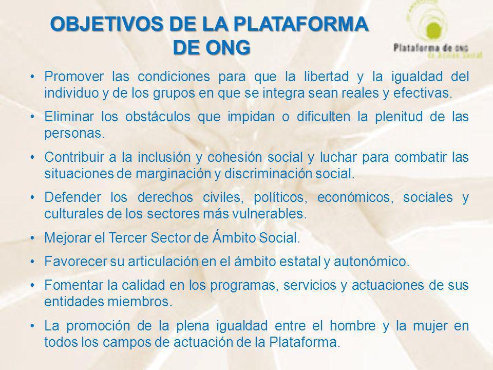 OBJETIVOS DE LA PLATAFORMA DE ONG Promover las condiciones para que la libertad y la igualdad del individuo y de los grupos en que se integra sean rea