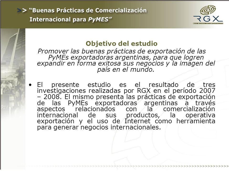 La muestra de cada investigación fue conformada por 100 PyMEs exportadoras.