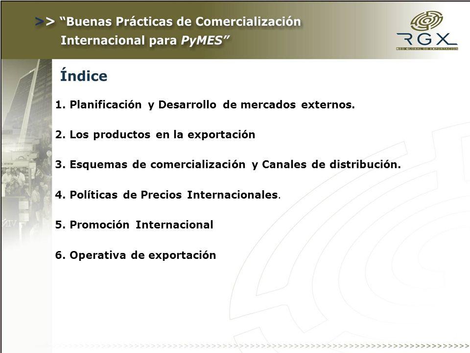 1. Planificación y Desarrollo de mercados externos.