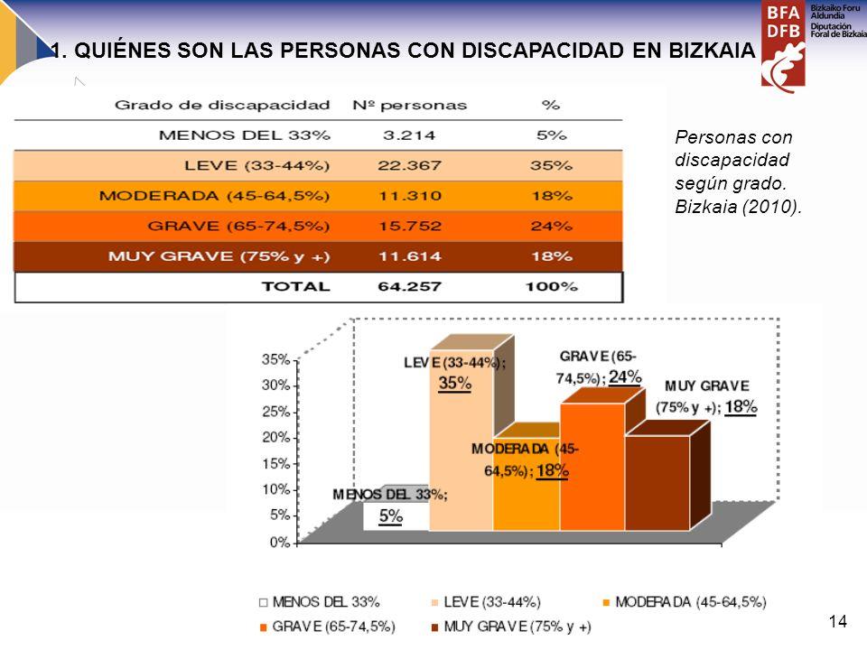 14 Personas con discapacidad según grado. Bizkaia (2010). 1. QUIÉNES SON LAS PERSONAS CON DISCAPACIDAD EN BIZKAIA