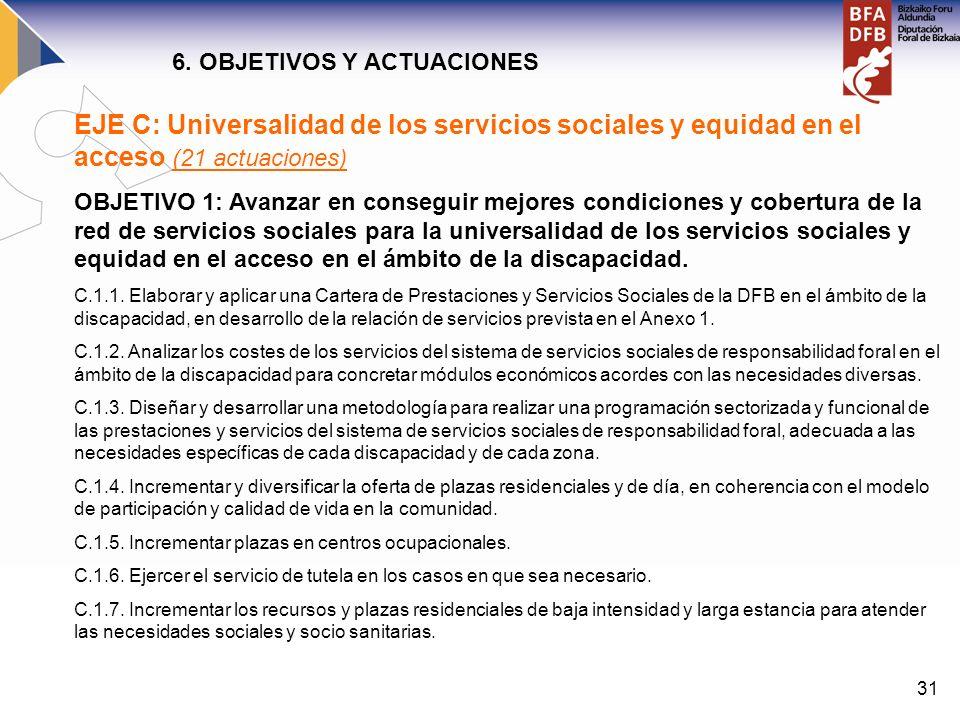31 EJE C: Universalidad de los servicios sociales y equidad en el acceso (21 actuaciones) OBJETIVO 1: Avanzar en conseguir mejores condiciones y cober
