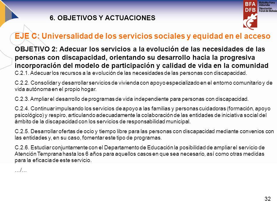 32 EJE C: Universalidad de los servicios sociales y equidad en el acceso OBJETIVO 2: Adecuar los servicios a la evolución de las necesidades de las pe